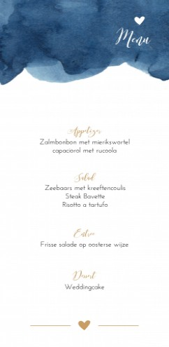 Menu bij trouwkaart Watercolor