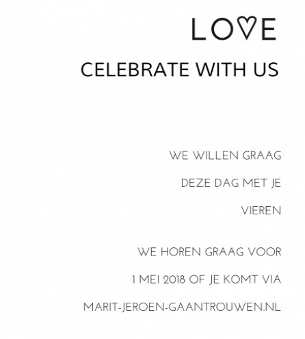 Pocketfold celebrate with us bij trouwkaart Simpel en Strak