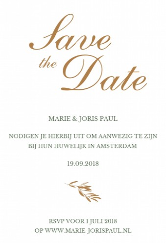 Save the date bij trouwkaart Olive