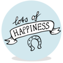 Sluitsticker - lots of happiness blauw - JH